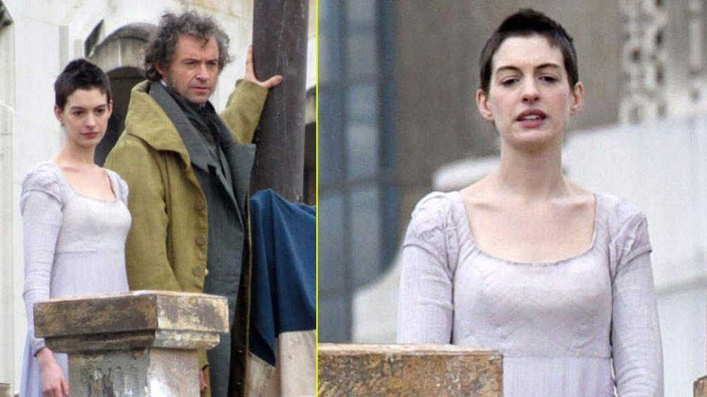 """Anne Hathaway perdió todo su cabello para """"Los Miserables"""". (Fotos: Just Jared)"""