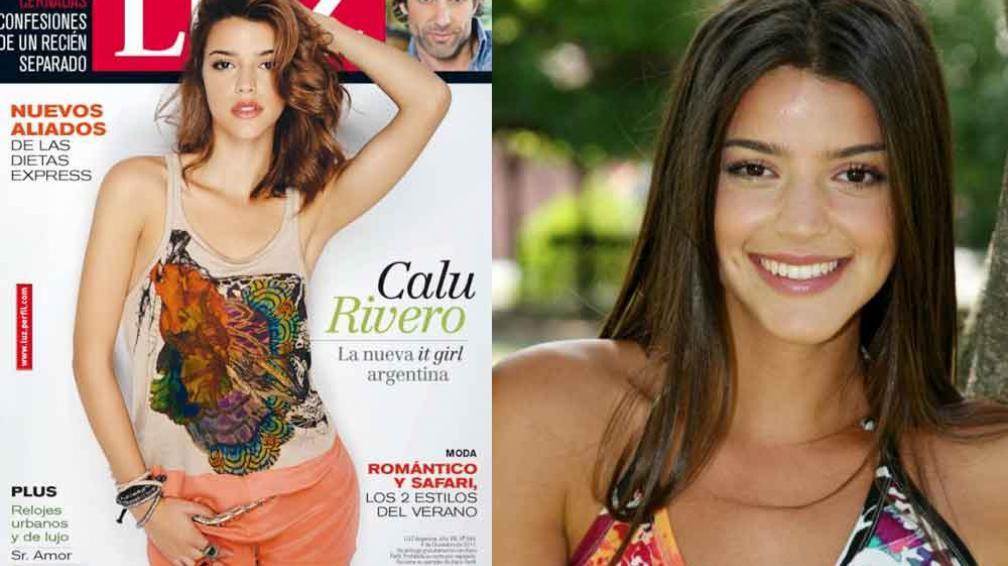SIMPLE Y BELLA. Calu Rivero, en la portada de Luz. A la derecha, en sus inicios como actriz