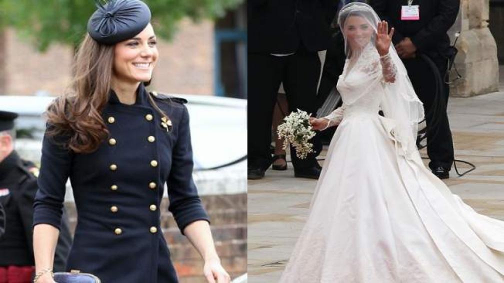 KATE MIDDLETON. Ya es una referente de la moda. A la derecha, el vestido de Mc Queen que usó en su boda