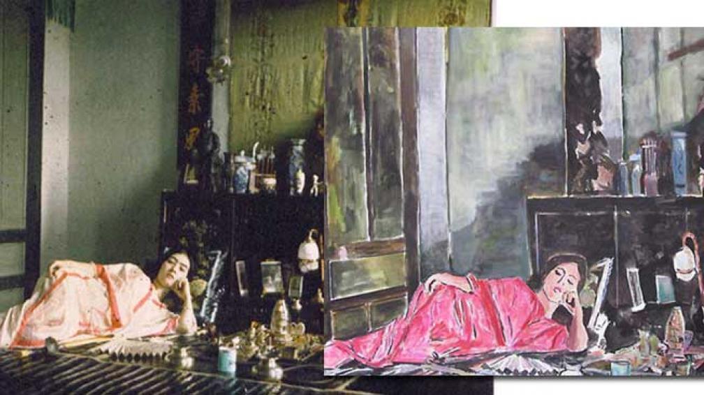 """A la izquierda, """"Mujer fumando opio"""", del fotógrafo Léon Busy. A la derecha, la pintura """"Opio"""", de Bob Dylan."""