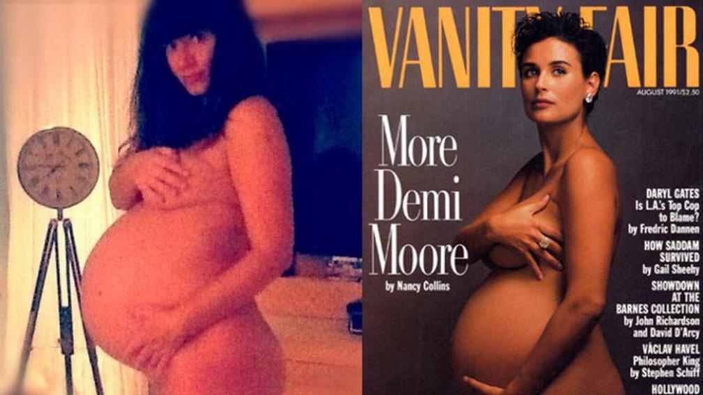 Griselda Siciliani y su pose casera que recuerda mucho a la que en 1991 hiciera Demi Moore para Vanity Fair.