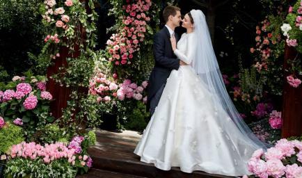 El imponente vestido de novia de la mujer del creador de Snapchat