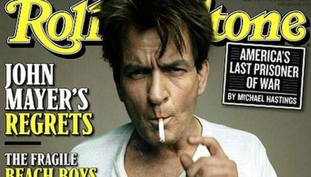 El problemático Charlie Sheen llegó a Rolling Stone.