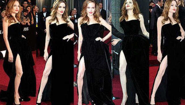 Angelina Jolie impactante en la entrega de los Oscar 2012.