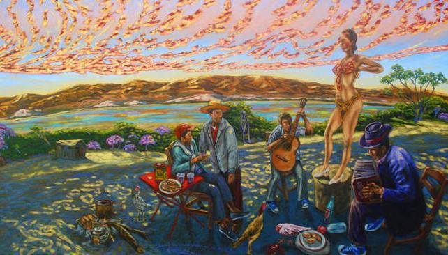 'Zambita, empanadas y las pollitas', el realismo mágico del pintor tucumano en plena acción.