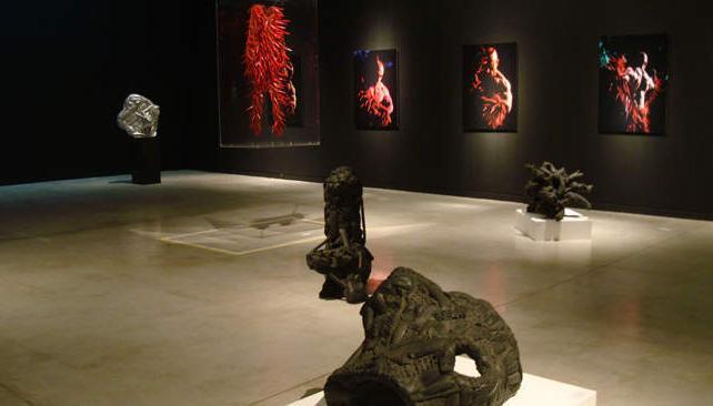 La muestra de Juan Batalla se exhibe en la última sala del Museo Caraffa, que fue especialmente pintada de negro para lograr la atmósfera que buscaba el artista.