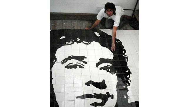 El Instituto San Roque de Villa Urquiza del que fue alumno Cerati, inauguró un mural en su honor. Foto: DyN.
