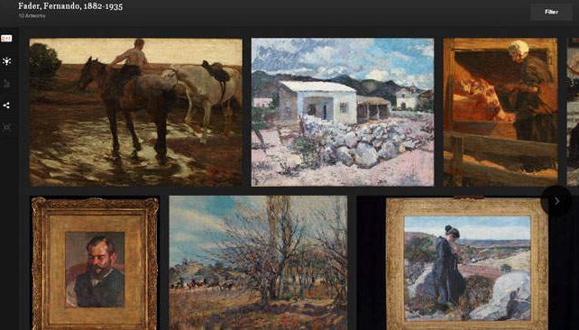 Art Project permite recorrer algunos de los templos artísticos más prestigiosos. En la imagen, algunas obras de Fernando Fader.