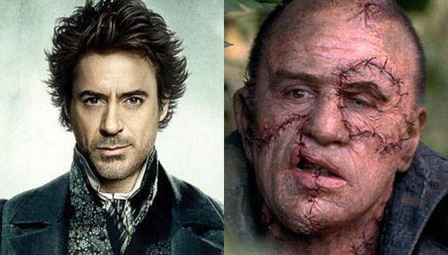 Sherlock Holmes y Frankenstein, acá en las recordadas interpretaciones Robert Downey Jr. y Robert de Niro.