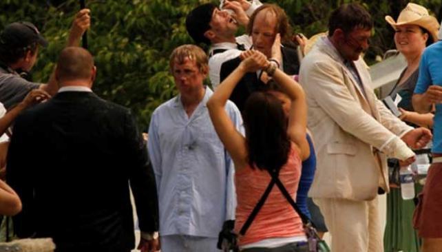 EN EL SET. Los chiflados, durante la filmación.