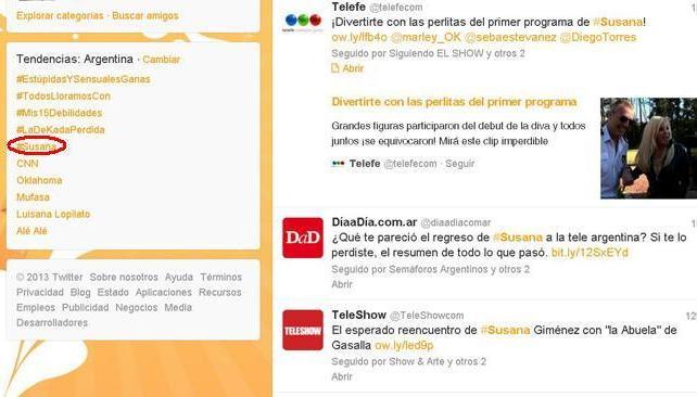 Twitter: Susana fue tendencia en Argentina.