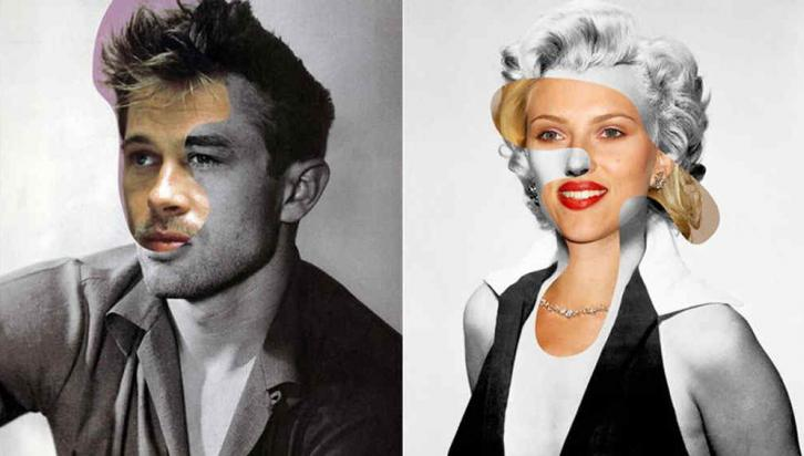 Brad Pitt y James Dean -  Scarlett Johansson y Marilyn Monroe
