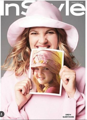 ¡Linda! Drew Barrymore replicó fotos con looks de su infancia
